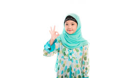 Cute muslim girl. Close up of cute muslim girl on white background isolated Royalty Free Stock Photo
