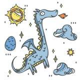 Cute Mythical Dragon Set - magical fairytale story element. Dragon, dragon egg, sun, cloud and fire. Perfect for magical fairytale story design, backgrounds Stock Photo