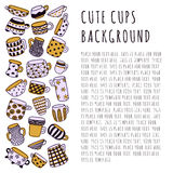 Cute naive cups background. Kids style drawing. Light purple, yellow and dark purple. Stock Image