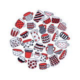Cute naive cups circle background. Kids style drawing. Light blue, red, white and dark blue. Vector illustration Stock Images