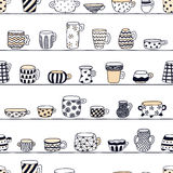 Cute naive cups on the shelves seamless vector pattern.  Kids style drawing. Stock Photo