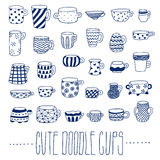 Cute naive cups vector set. Blue color. Kids style Stock Image