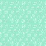 Cute naive house light turquoise seamless vector pattern. Kids style drawing. Royalty Free Stock Photography