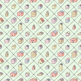 Cute naive house and rhombus seamless vector pattern. Multicolored pattern. Kids style drawing. Stock Image