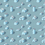 Cute naive house seamless vector pattern. Blue pattern. Kids style Royalty Free Stock Images