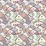 Cute naive house seamless vector pattern. City pattern. Kids style drawing Stock Photography