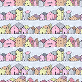 Cute naive house seamless vector pattern with stripes. Kids style drawing. City pattern. Stock Photos