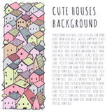 Cute naive house vector background with place for your text. Kids style drawing. Stock Image