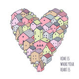 Cute naive house vector heart background. Kids style drawing. Home is where your heart is poster Royalty Free Stock Photos