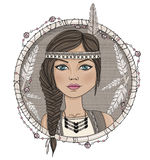 Cute native american girl and feathers stock illustration