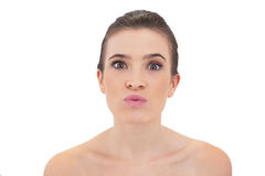 Cute natural brown haired model making faces Stock Photos