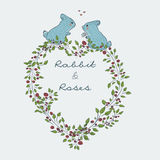 Cute natural frame from branches of a rose with a blue rabbit. Collection of hand-drawn cute natural frame from branches of a rose with a blue rabbit. floral Royalty Free Stock Photo