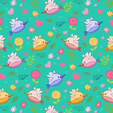 Cute nature pattern. With cartoon birds, flowers, leaves and butterflies Stock Illustration