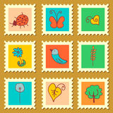 Cute nature stamps set. Cute nature floral stamps set stock illustration