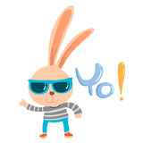 Cute naughty bunny dancing cartoon character Royalty Free Stock Image