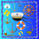 Cute nautical elements royalty free stock images