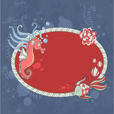 Cute nautical summer sea card Stock Images