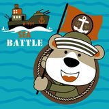 Navy army cartoon with gunboat. Cute navy seal army with gunboat. Vector cartoon illustration, no mesh, vector on eps 10 Stock Images