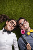 Cute nerd couple Royalty Free Stock Photography