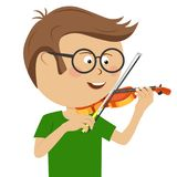 Cute nerd little boy with glasses plays violin Royalty Free Stock Images