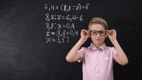 Cute nerd schoolboy in glasses standing near blackboard, math exercise written. Stock footage stock video