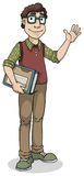 Cute nerdy boy with glasses and books Royalty Free Stock Image