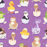 Cute new born animals in eggs easter seamless pattern Royalty Free Stock Image