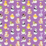 Cute new born animals in eggs easter seamless pattern background Royalty Free Stock Photography