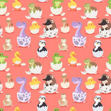 Cute new born animals in eggs easter seamless pattern background.  Royalty Free Stock Photo