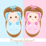 Cute new born babies shower card Stock Photography
