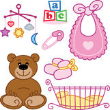 Cute New born baby girl toys graphic elements. Vector format fully editable Royalty Free Stock Photos