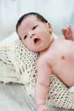 Cute new born baby lying on blanket Royalty Free Stock Photo