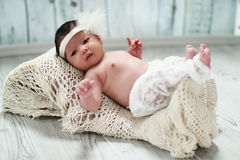 Cute new born baby lying on blanket Royalty Free Stock Photos