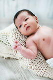 Cute new born baby lying on blanket Royalty Free Stock Photography