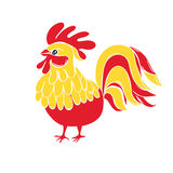 Cute New Year bird symbol design. Rooster cartoon illustration. In red and yellow colors. Holiday card design element. Chinese New year symbol vector illustration