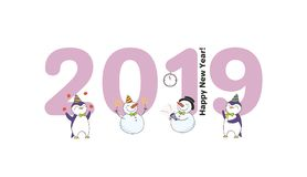 Cute New Year card, banner. Hand drawn New Year 2019 greeting card, banner template with big numbers, cute funny cartoon penguins, snowmen celebrating Stock Photos