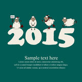 Cute new year card with cartoon sheep and 2015 Royalty Free Stock Photography
