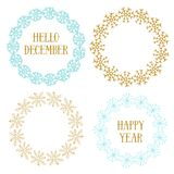 Cute New Year decorative frame set. Vector for banners, greeting and invitation cards, covers. Christmas decorative Royalty Free Stock Photo
