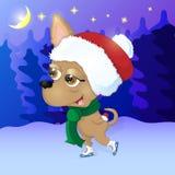 Cute New Year dog. vector illustration