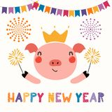 Cute new year pig vector illustration