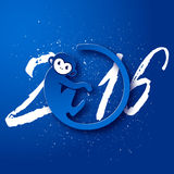 Cute New Year postcard with monkey symbol on blue background, year of the monkey 2016 design Stock Image
