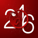 Cute New Year postcard with monkey symbol on red background Royalty Free Stock Photography