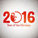 Cute New Year postcard with monkey symbol on snow background, year of the monkey 2016 design. Vector illustration Royalty Free Stock Images
