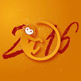 Cute New Year postcard with monkey symbol on yellow background Stock Images