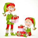 Cute New Year's little Santa's assistant with a gifts Stock Photography