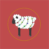 Cute New Year's sheep with bright garland. In circle Royalty Free Stock Photo