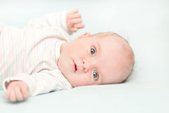 Cute newborn adorable baby at home Stock Photos