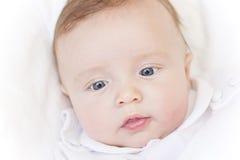 Cute newborn baby boy face stock images
