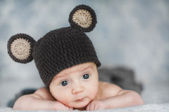 Cute newborn baby boy in a hat Royalty Free Stock Photo