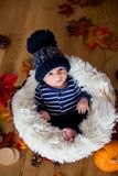 Cute newborn baby boy with knitted hat in a basket Stock Image